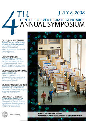 Promotional poster featuring a view overlooking a symposium poster session.