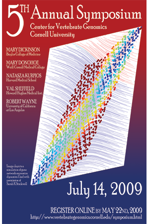 Promotional poster featuring a simulation of gene network expression.